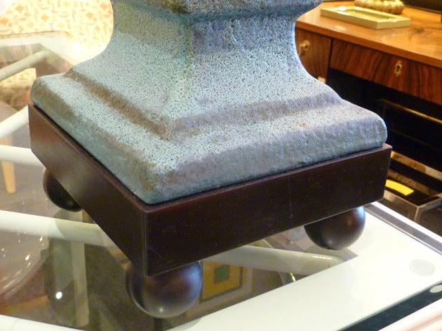 Monumental Lava Glaze Asian Motif Table Lamp For Sale 1