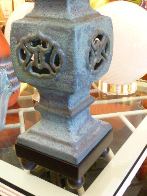 Monumental Lava Glaze Asian Motif Table Lamp For Sale 3