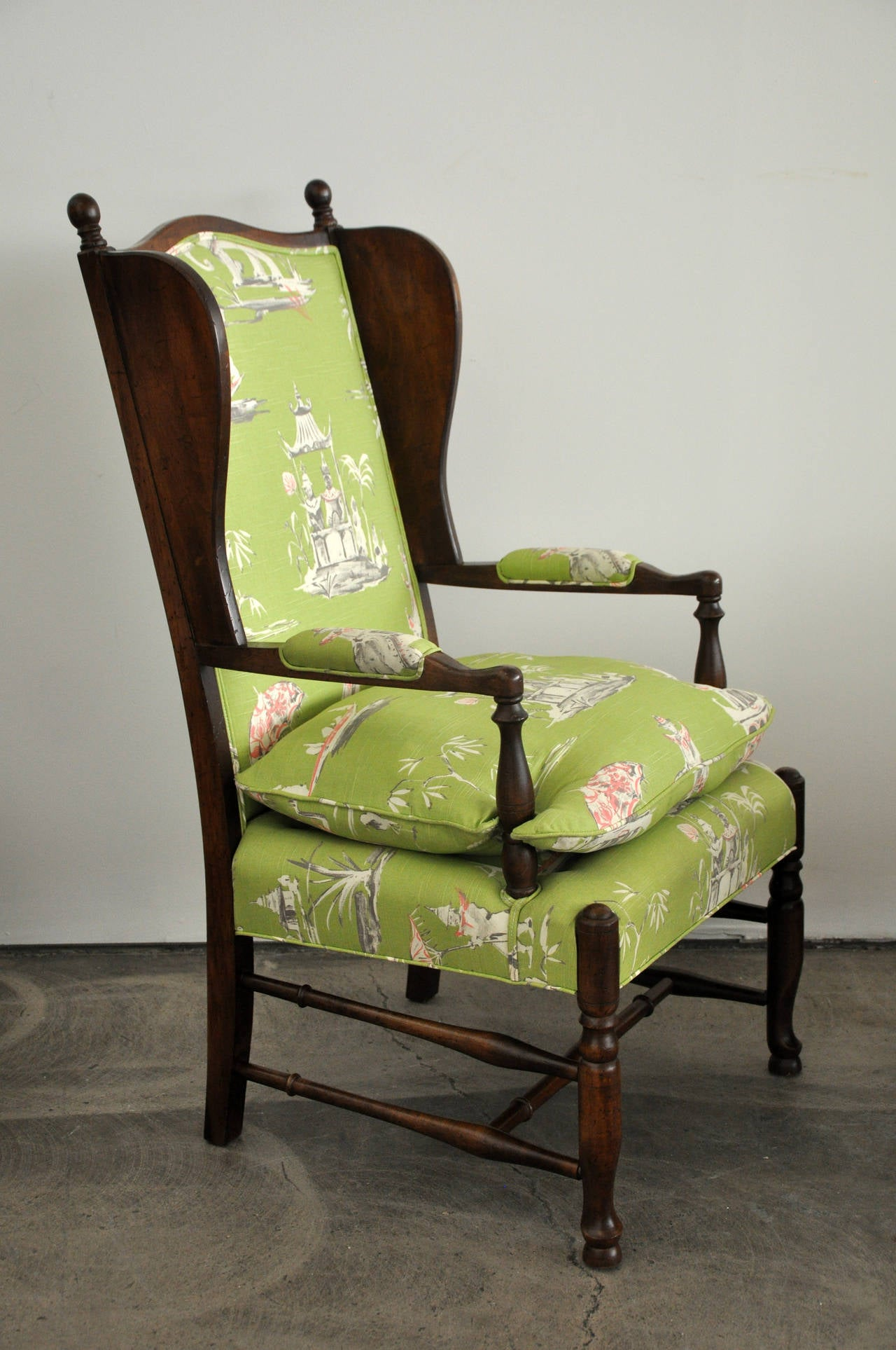 Mid Century Wingback Chair with Ottoman at 1stdibs