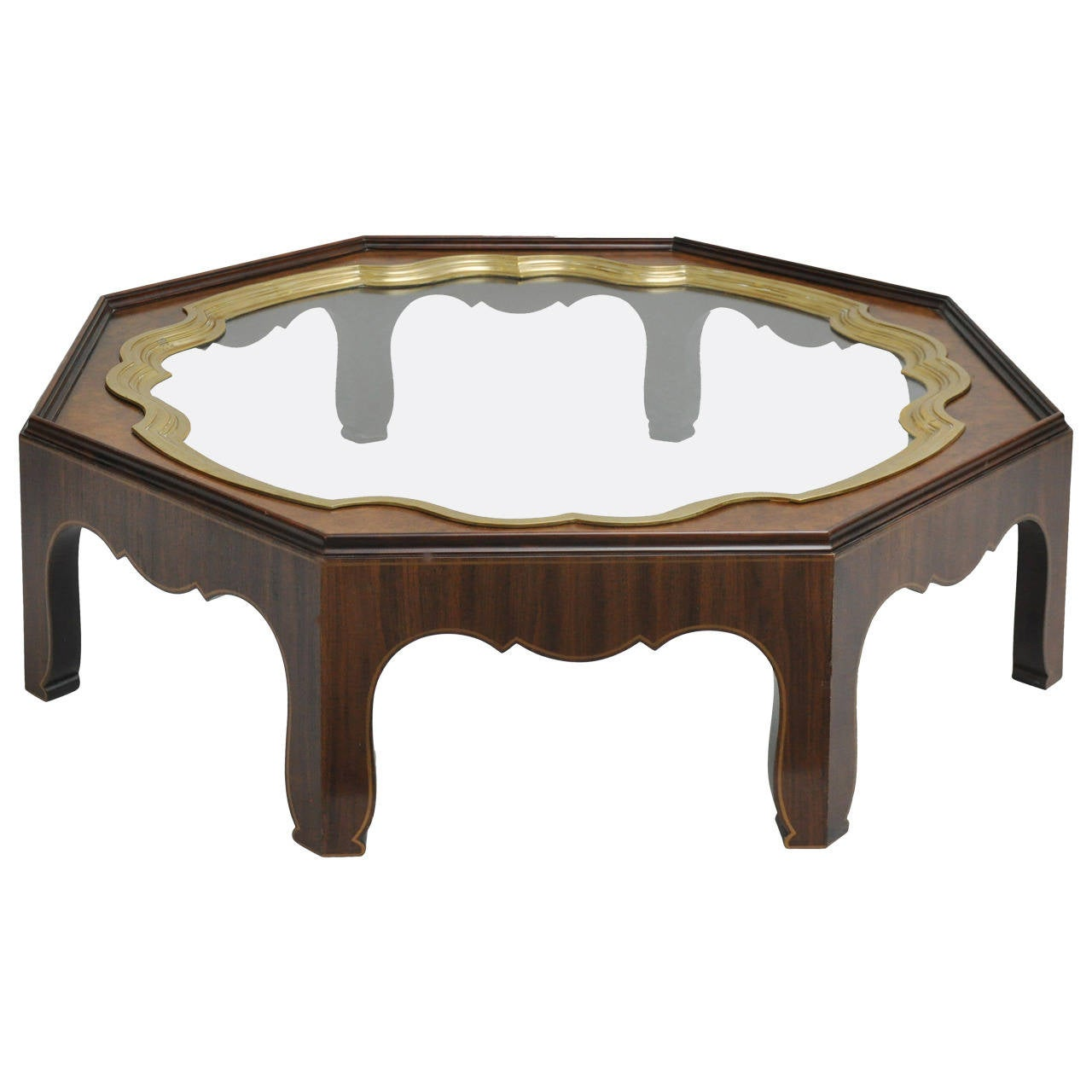 Baker furniture burled wood cocktail table brass and glass for Wood and glass cocktail tables