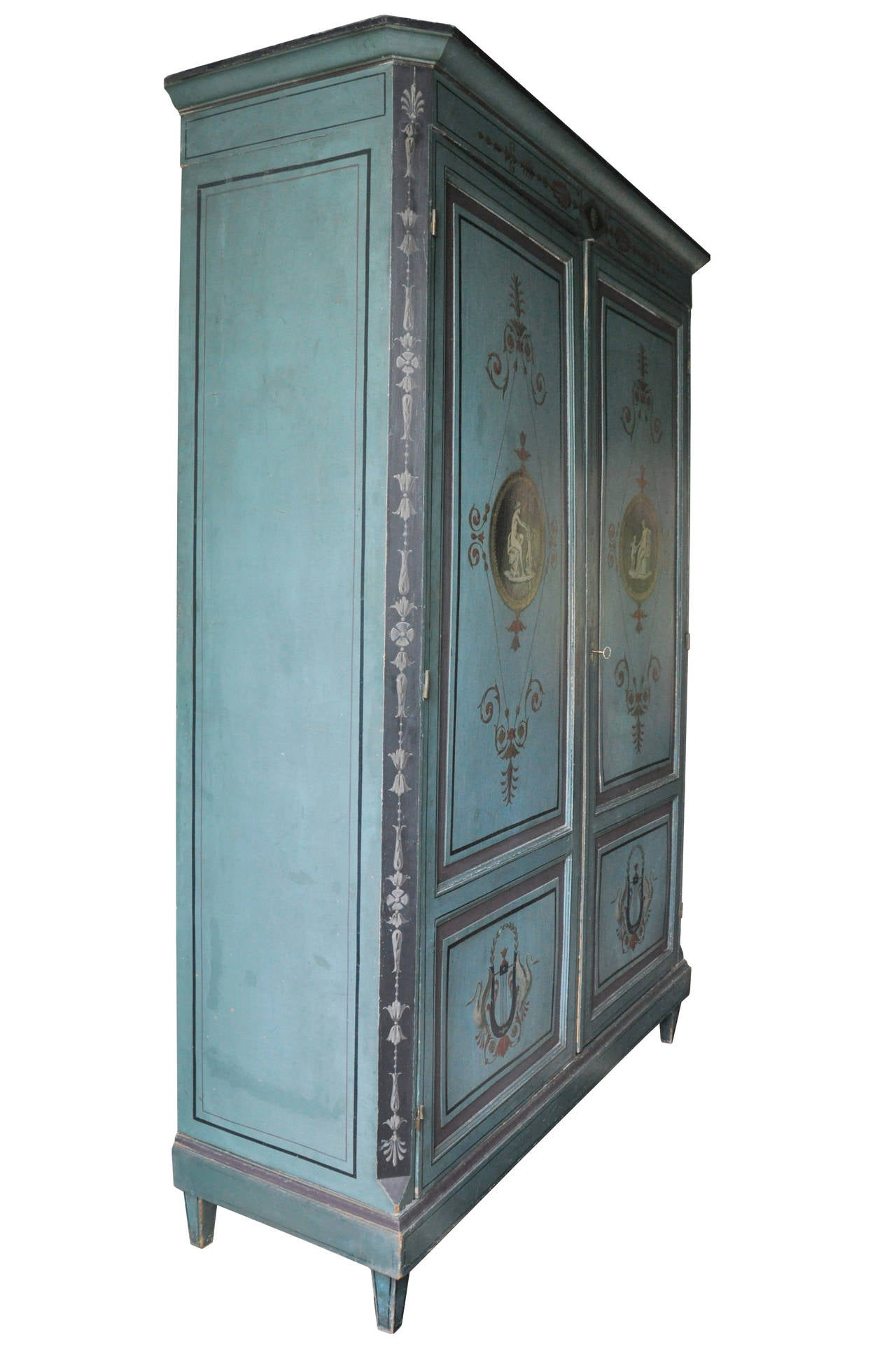 french painted directoire style armoire at 1stdibs. Black Bedroom Furniture Sets. Home Design Ideas