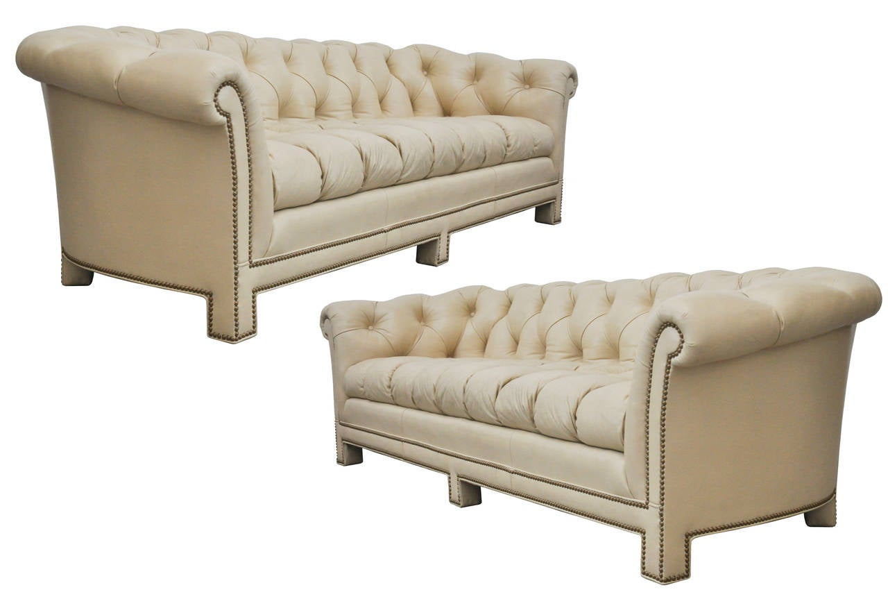 Light Tan Leather Chesterfield Sofas by Hancock and Moore at 1stdibs