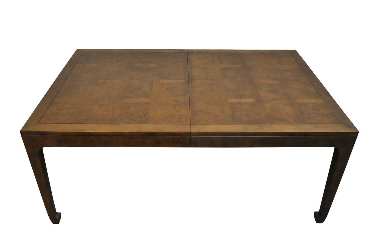 Baker furniture asian style mid century dining table w 3 for Baker furniture