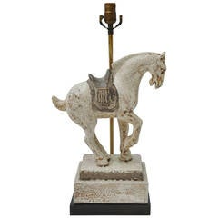 Porcelain Tang Dynasty Style Horse on Classical Base Table Lamp