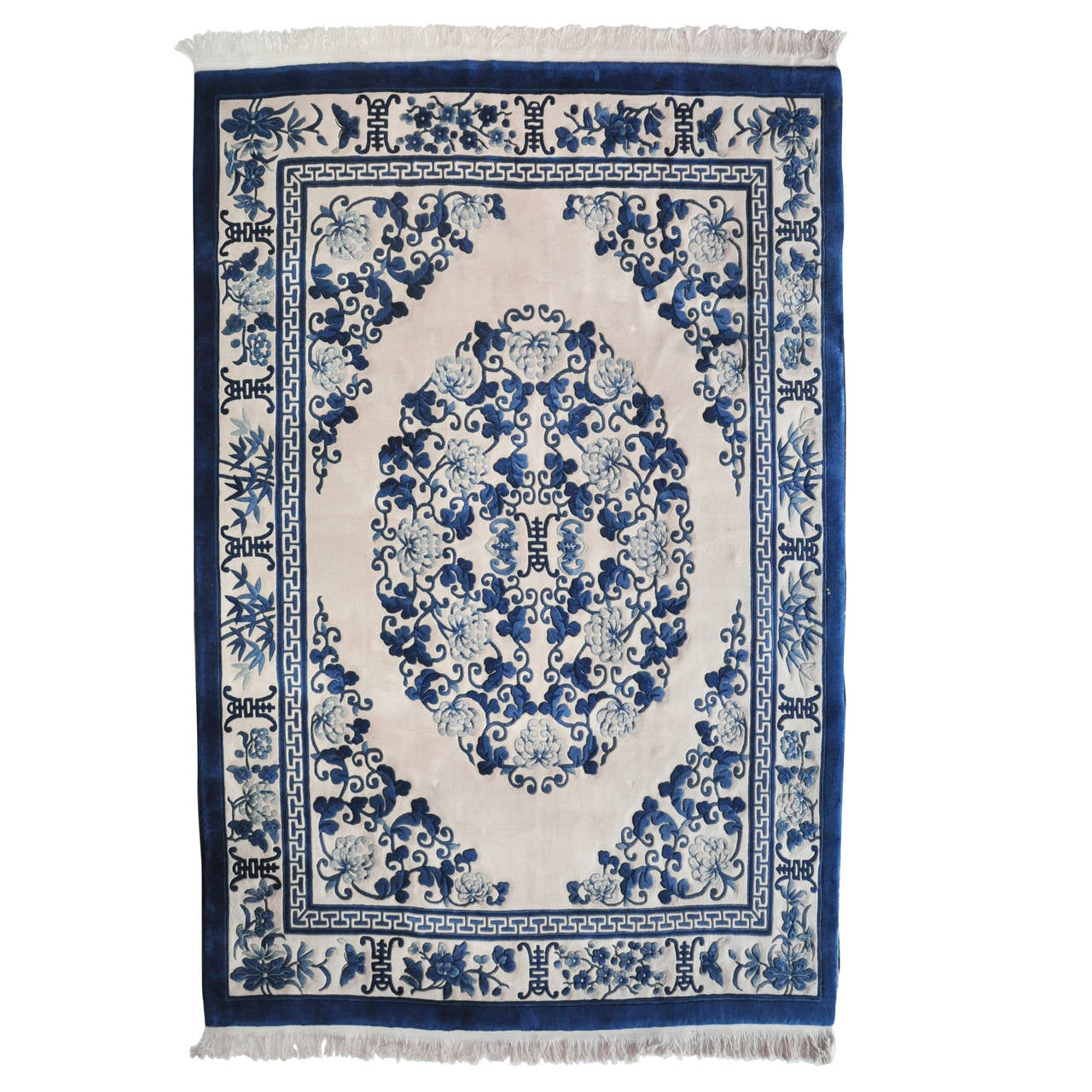 Chinese Blue And White Rug At 1stdibs
