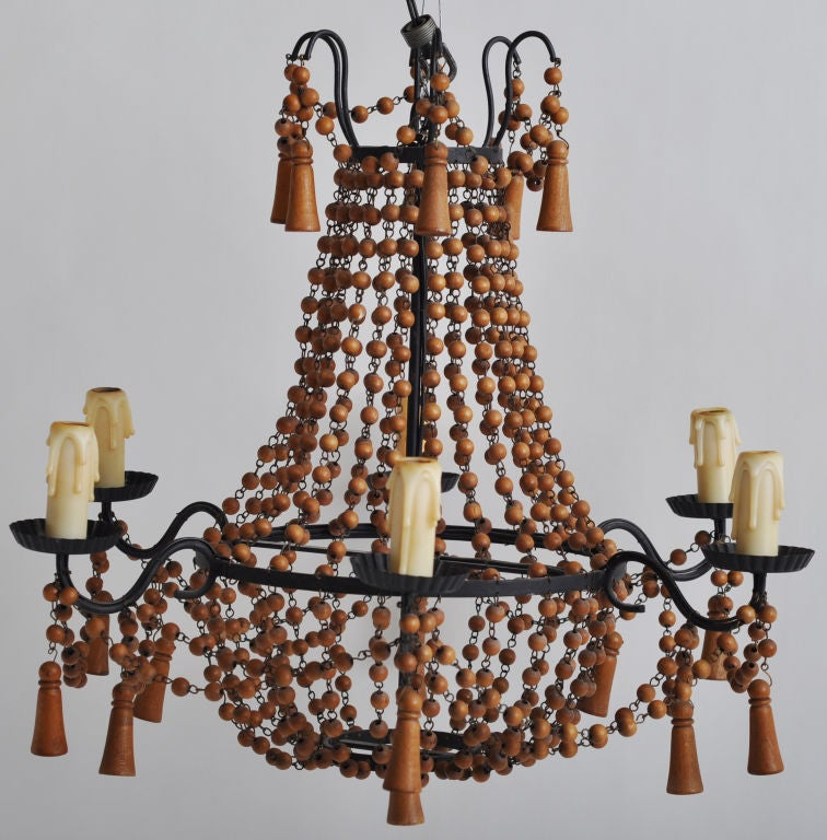 Wood Beaded Chandelier Best Diy Wood Bead Chandelier