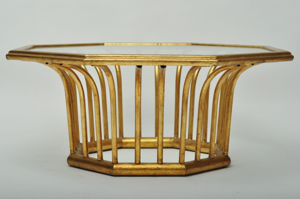 Italian gold leafed metal octagonal shaped cocktail table at 1stdibs Gold metal coffee table
