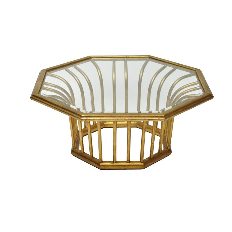 Italian Gold Leafed Metal Octagonal Shaped Cocktail Table