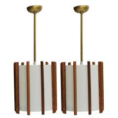 Wood Strip Hanging Lights - Two Available