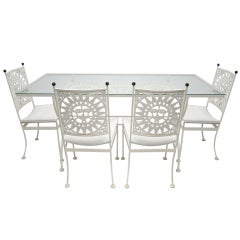 GLASS AND IRON DINING SET BY  Arthur Umanoff SUN FACE