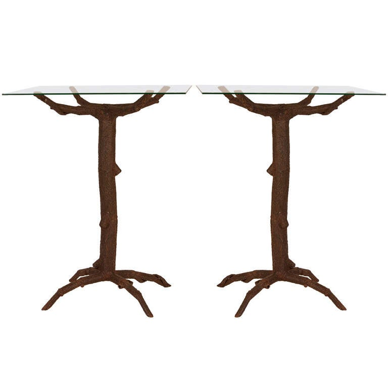 French metal faux bois table bases at 1stdibs for Table bois metal rallonge