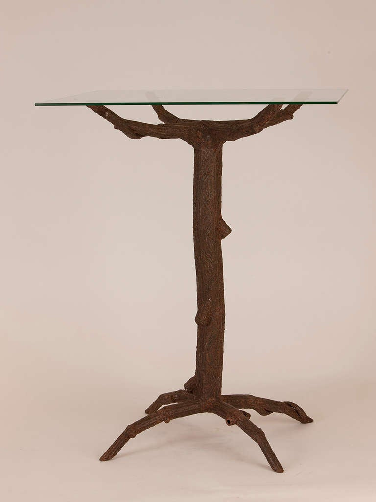 French metal faux bois table bases at 1stdibs for Table bois metal