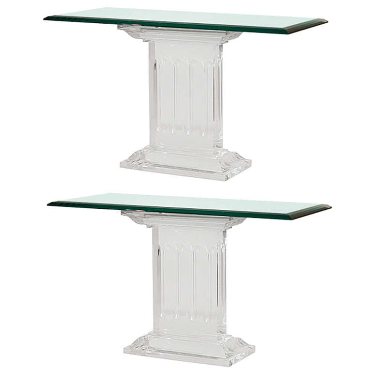 French Neoclassic Lucite and Glass Side Tables For Sale