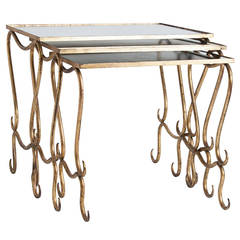 Trio of Midcentury French Gilt Nesting Tables