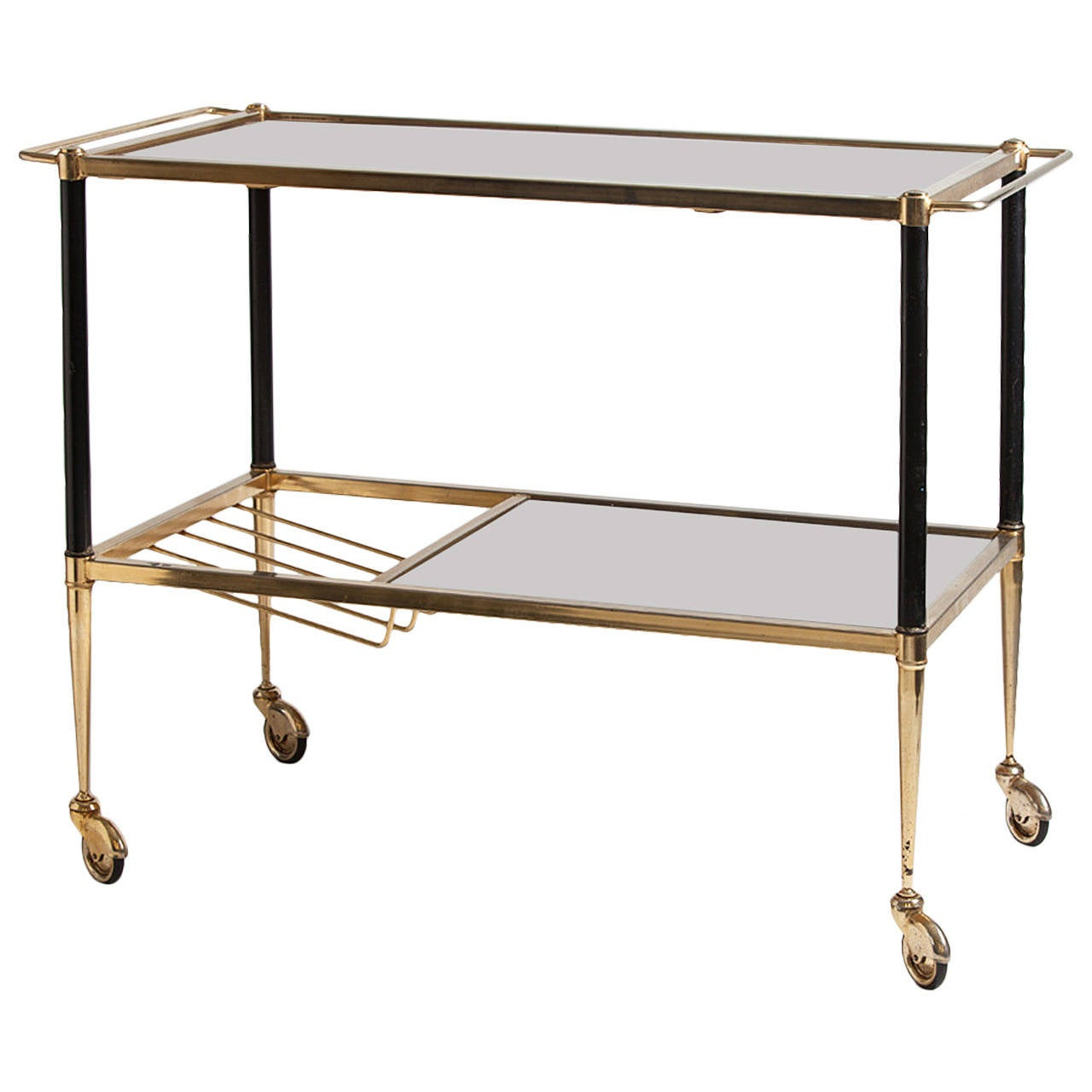 mid century walnut and brass bar cart at 1stdibs. Black Bedroom Furniture Sets. Home Design Ideas