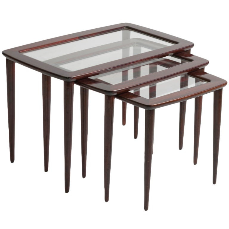C italian wood and glass nesting tables at stdibs