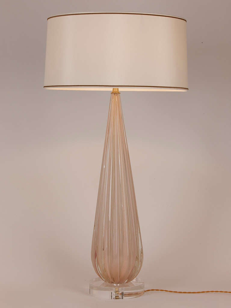 Large Scale Murano Lamp In Blush Pink And Gold At 1stdibs