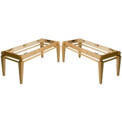 Pair of French Sycamore Bench Frames
