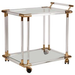 French Lucite, Brass and Glass Bar Cart