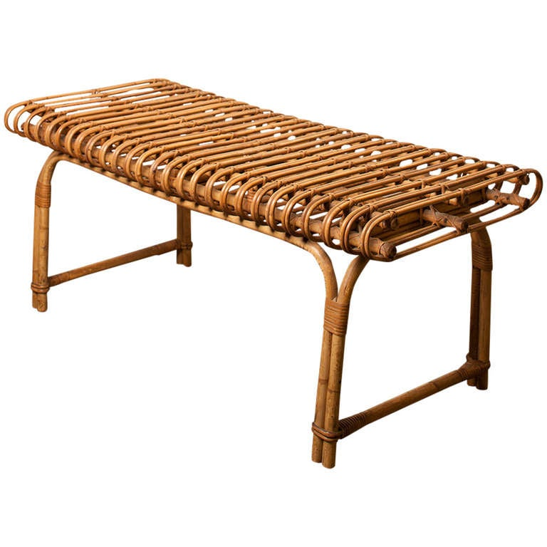 French Rattan Bench At 1stdibs