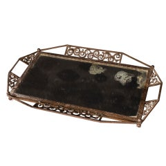 French Forged Metal and Mirror Tray