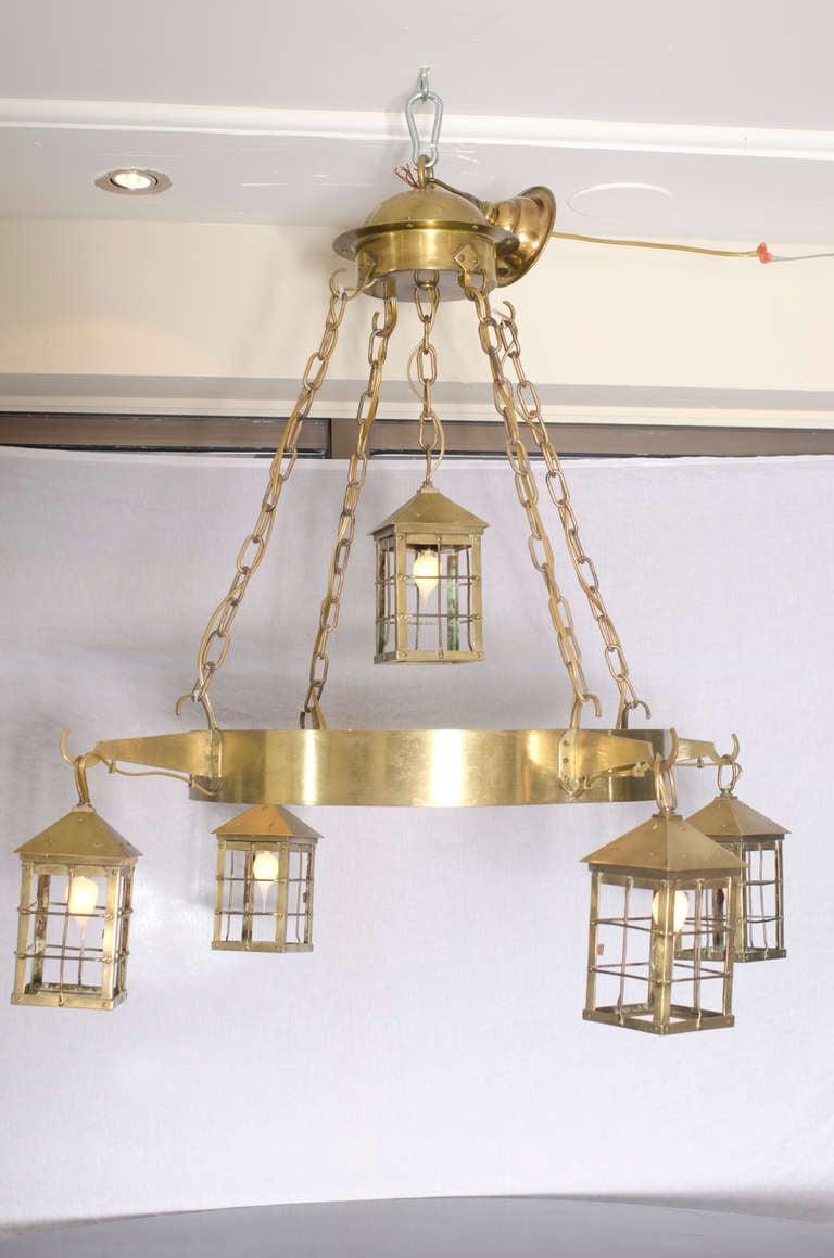 Bronze five lantern chandelier from Belgium