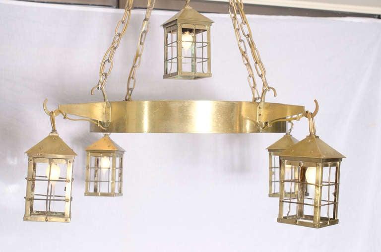 Belgian Bronze Lantern Chandelier For Sale