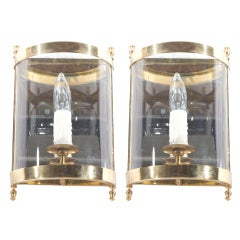 Pair of Brass, Glass and Mirror Sconces