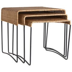 Trio of French Bamboo Nesting Tables