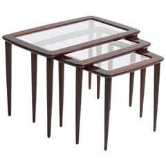 c. 1950 Italian Wood and Glass Nesting Tables