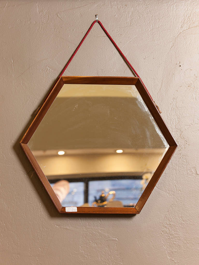 French Hexagonal Wood Frame Mirror At 1stdibs