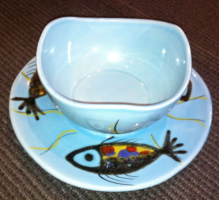 """Mid-20th Century c. 1960 Stamped Pornic """"Fish"""" Service For Sale"""
