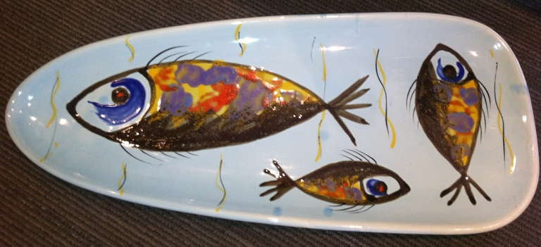 """French c. 1960 Stamped Pornic """"Fish"""" Service For Sale"""