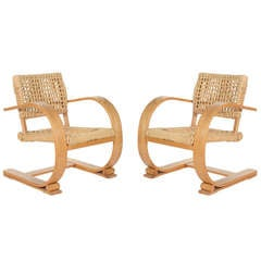 Pair of Audoux-Minet Bentwood Arm Chairs for Vibo