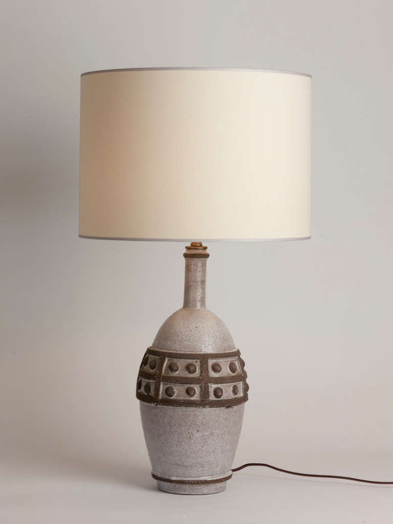 Vintage French ceramic table lamp created in Vallauris featuring geometric detail.