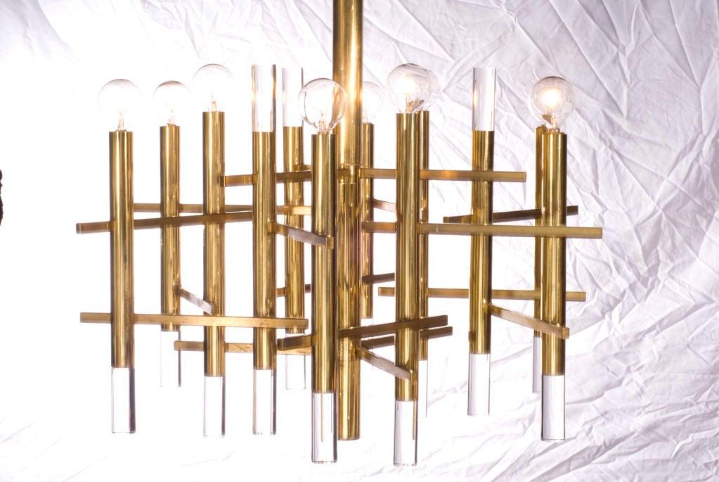 Sciolari Brass and Lucite Chandelier 2