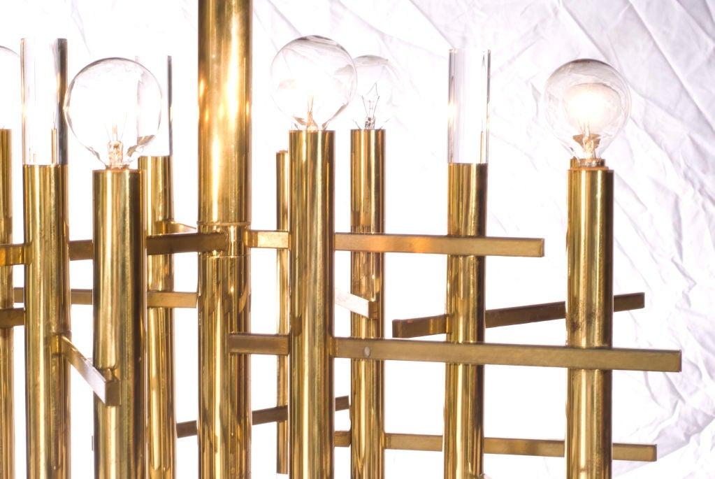 Sciolari Brass and Lucite Chandelier 3