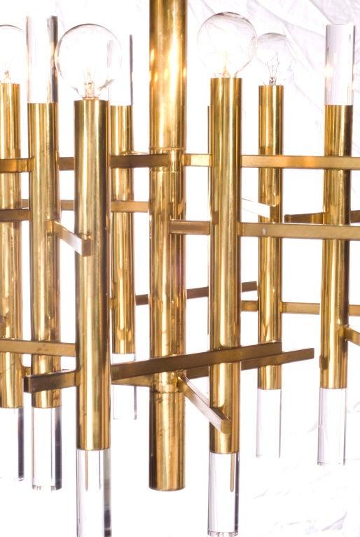 Sciolari Brass and Lucite Chandelier 4