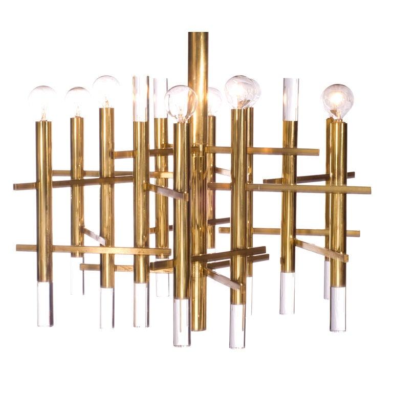 Sciolari Brass and Lucite Chandelier 1