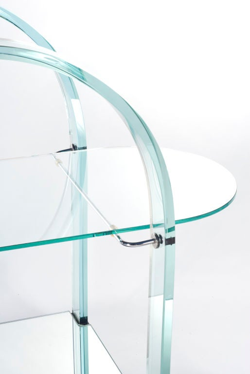French Glass and Mirror Bar Cart For Sale
