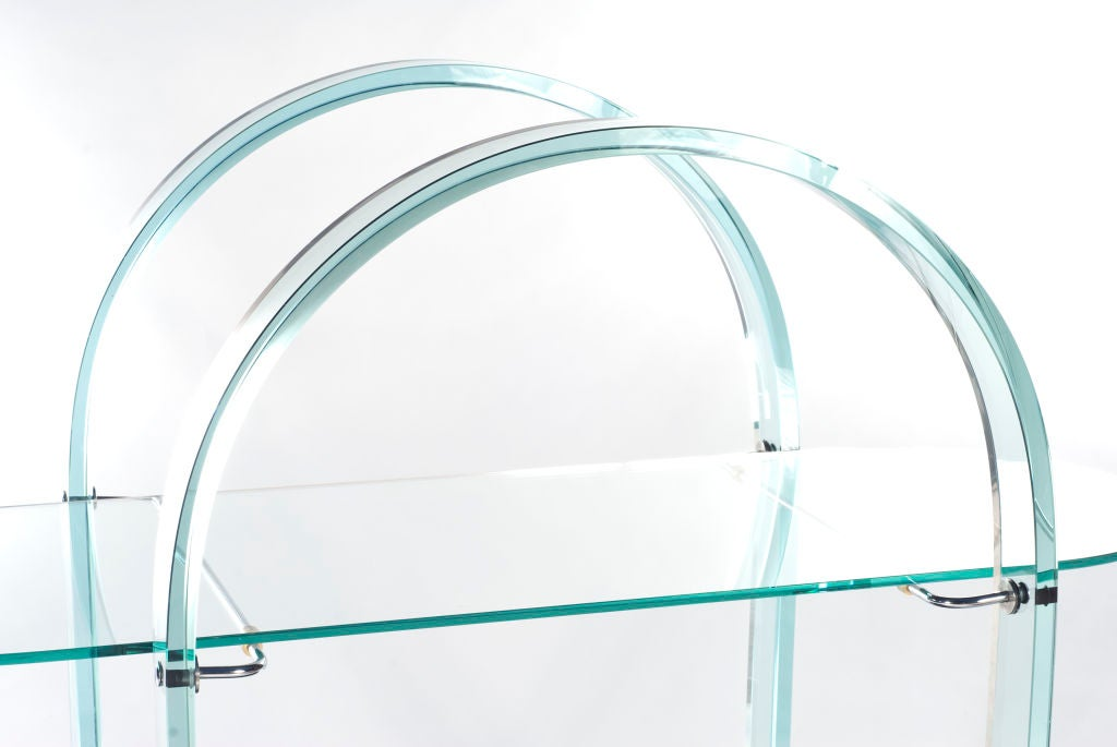 Glass and Mirror Bar Cart In Excellent Condition For Sale In Aspen, CO