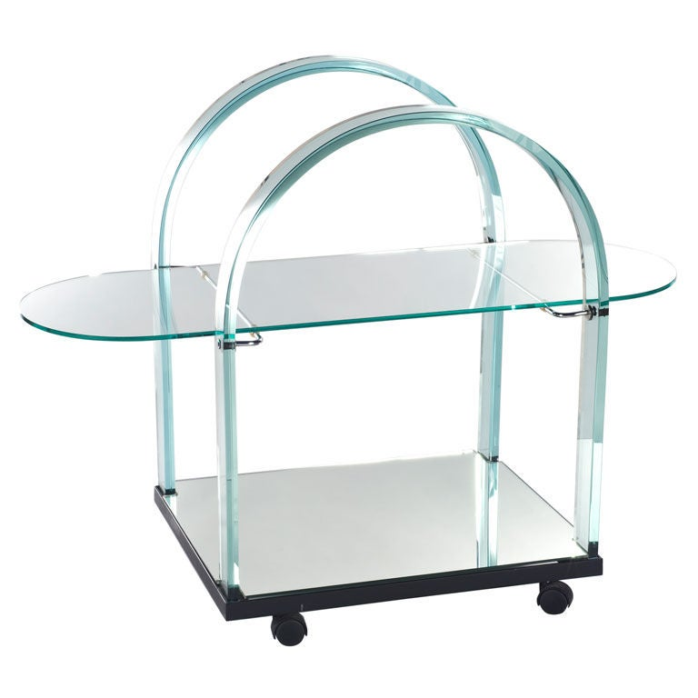 Glass and Mirror Bar Cart For Sale