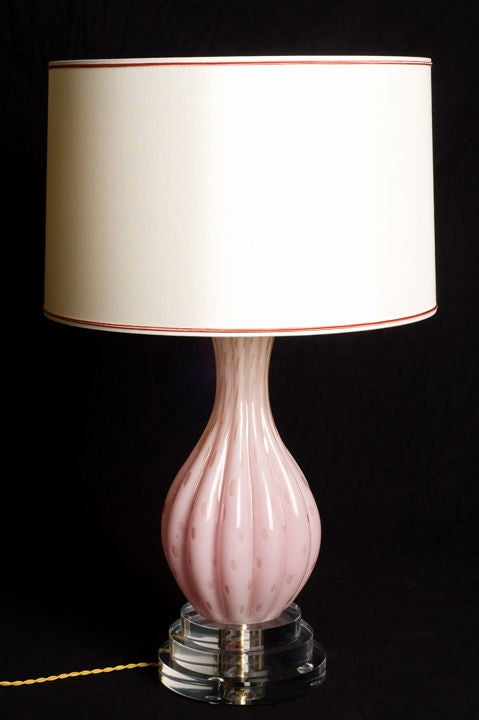 Pink and Gold Murano Lamp 2