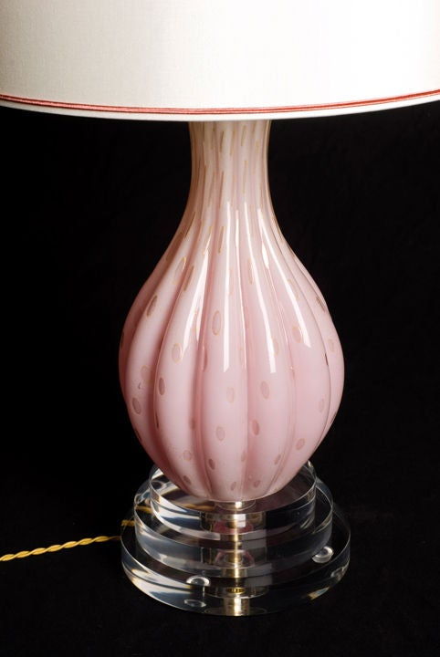 Pink and Gold Murano Lamp 3