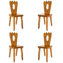 "Set of Four Elm ""Alpine"" Chairs"