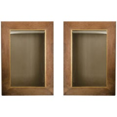 Pair of Large Scale French Oak Mirrors with Gilt Detail