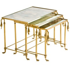 Set of Three French Brass and Mirror Nesting  Tables