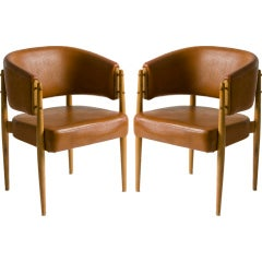 Pair of Oak and Leather Arm Chairs
