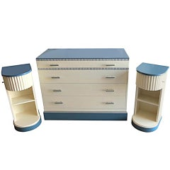 American Art Deco Chest and Two Nightstands By Kittinger