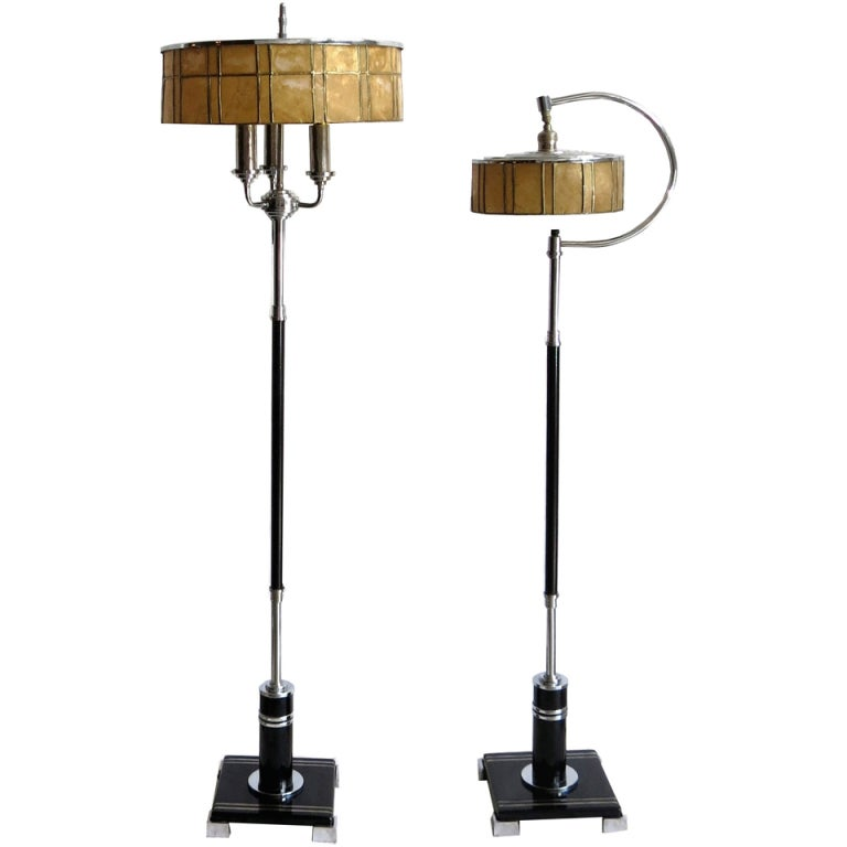 Two american art deco floor lamps with mica shades at 1stdibs for Floor standing art deco lamp